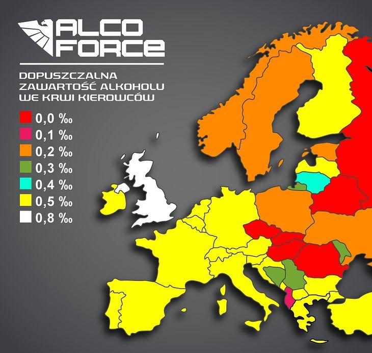 Dopuszczalne stężenie zawartości alkoholu we krwi w wybranych krajach Europy.