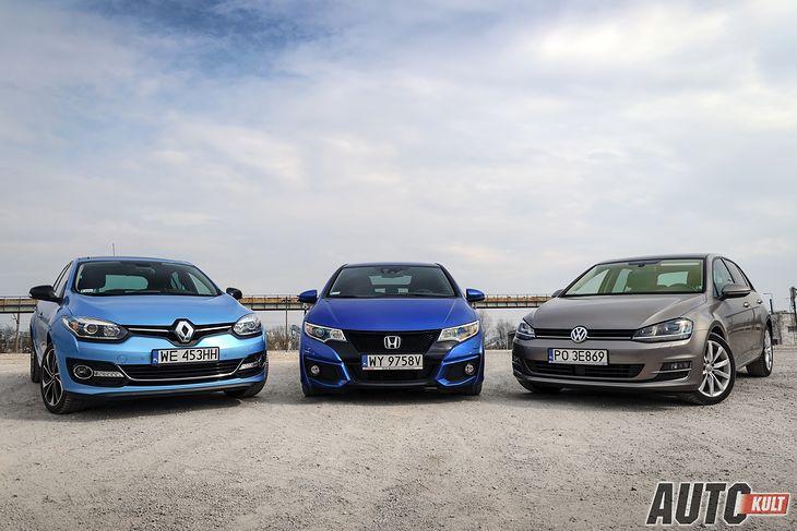Renault Megane, Honda Civic i Volkswagen Golf - trzy bardzo popularne kompakty, a każdy z nich tak naprawdę inny...