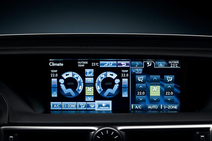 Panel kontrolny klimatyzacji w Lexusie GS 450h