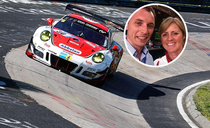 Sabine Schmitz w Porsche 911 GT3 R i z autorem tekstu, wyścig ADAC 24H Rennen, rok 2014