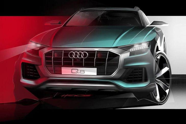 Nowe Audi Q8 (2018) - szkic frontu wersji produkcyjnej