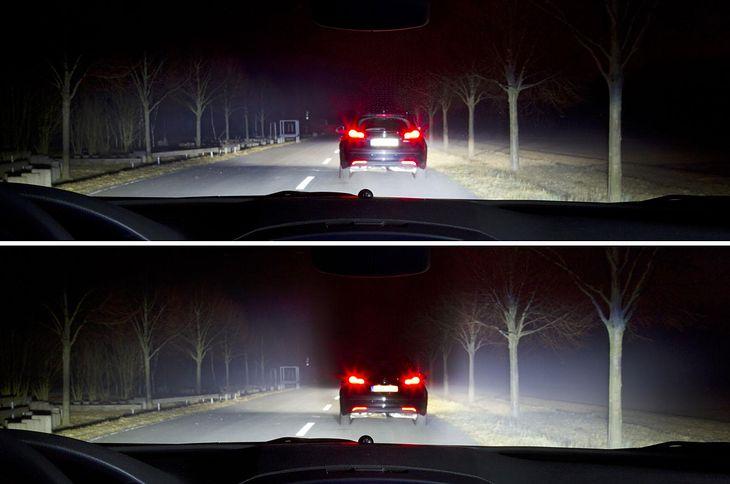 Opel LED Light Matrix (góra - system wyłączony; dół - system włączony)