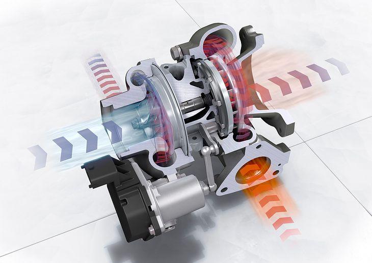 Turbosprężarka z oznaczonym przepływem powietrza zimnego i ciepłego. Widoczne wirniki oraz wał.