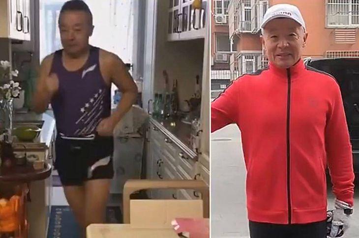 Li Zhanzhe podczas biegu w swoim domu