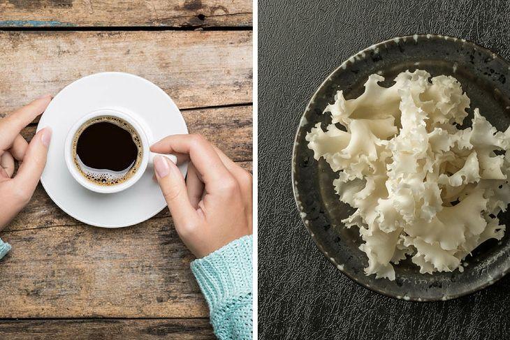 Kawa i grzyby maitake