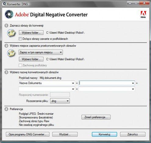 Ekran początkowy Adobe DNG Converter