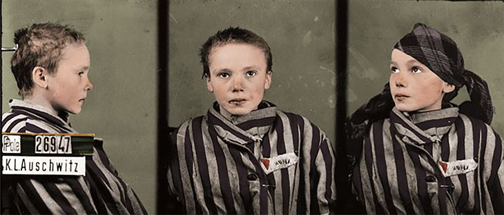 n/z Czesława Kwoka, czyli dziewczyna wyznania rzymskokatolickiego, która trafiła do obozu Auschwitz w latach 19452-1943.