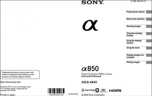 Sony Alfa A850 - pierwsza strona manuala
