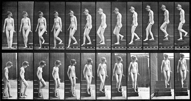 Kobieta schodząca po schodach, XIX wiek