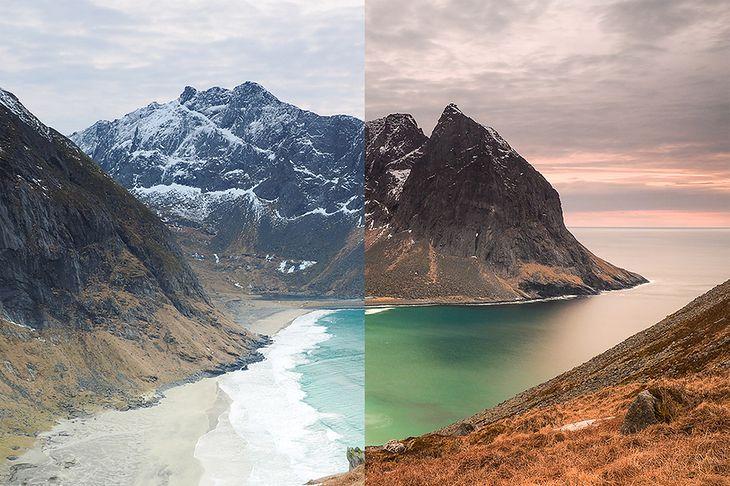 Ten sam motyw sfotografowany bez filtra (po lewej stronie) oraz z wykorzystaniem ND1000 i filtrów szarych połówkowych (po prawej). Islandia, Olympus OM-D E-M1.