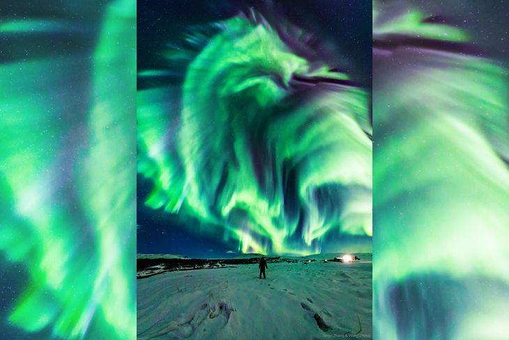 Zorza polarna w kształcie smoka