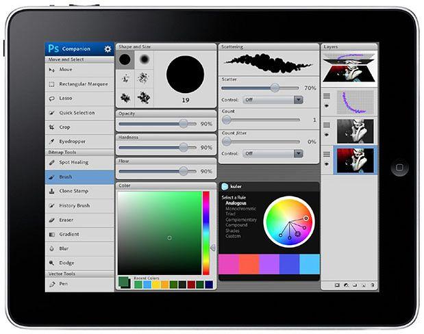Stara wizualizacja Photoshopa na iPadzie