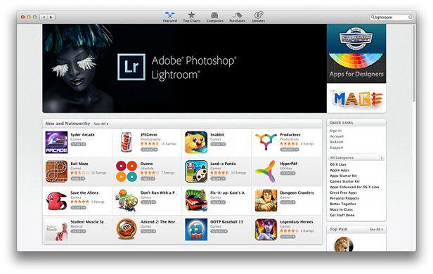 Adobe Lightroom 4 w Mac App Store za 150 dolarów