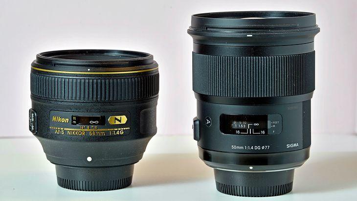 """Z lewej Nikkor 58 mm f/1.4G; z prawej Sigma 50 mm f/1,4 DG HSM """"Art"""". © Jarosław Brzeziński"""