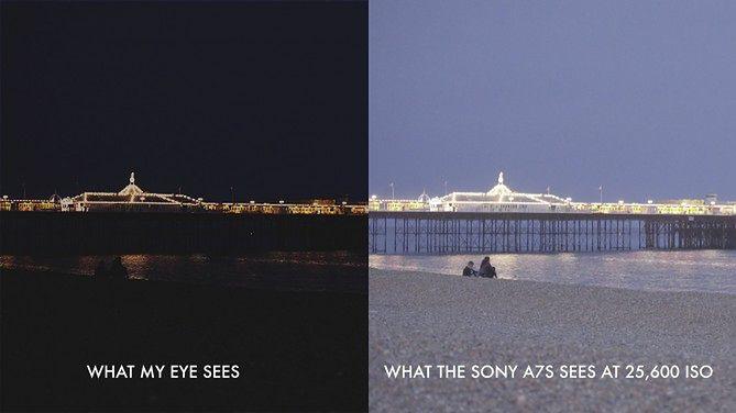 Po lewej: tak widzi ludzkie oko. Po prawej: obraz z Sony A7S przy ISO 25600.