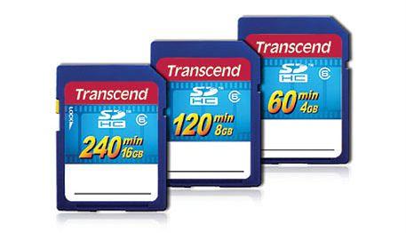Transcend SDHC o pojemnościach 4 do 16 GB