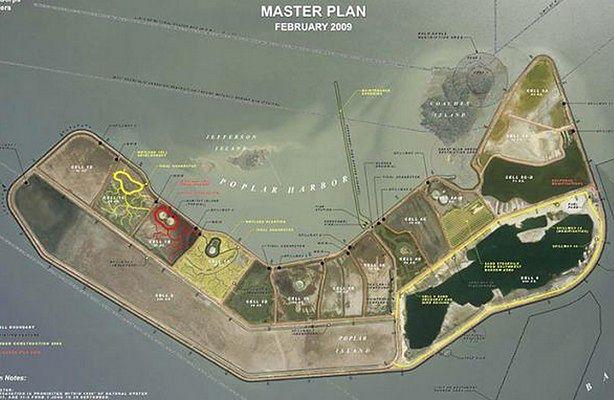 Sztuczna wyspa na Atlantyku - tworzona przez armię USA (fot.: Gizmodo.co.uk)