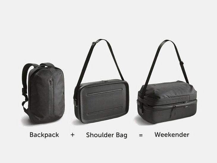 Torba na ramię + plecak = modułowa torba podróżna na weekend
