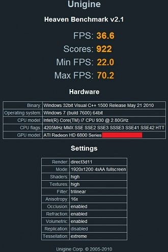 Radeon HD6870 - Unigine Heaven Benchmark 2.1