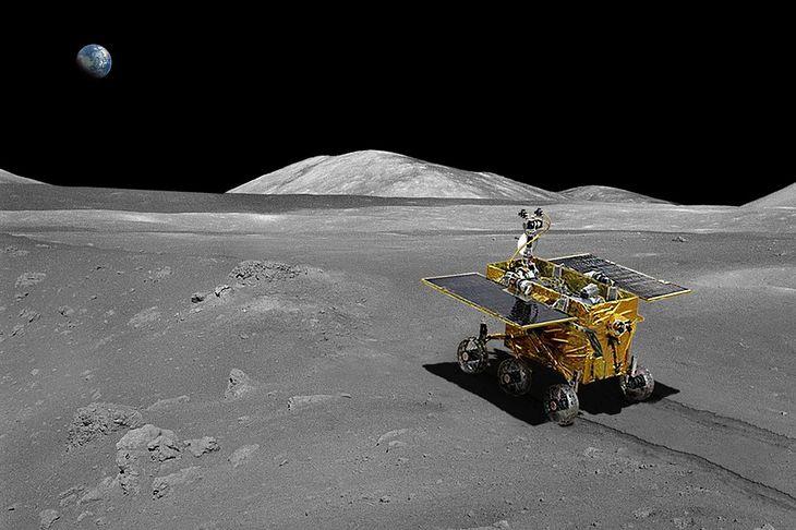 Łazik Yutu na powierzchni Ksieżyca - wizualizacja