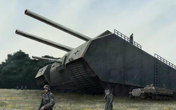 Landkreuzer P. 1000 Ratte - na rysunku niepoprawnie umieszczono działo mniejszego kalibru