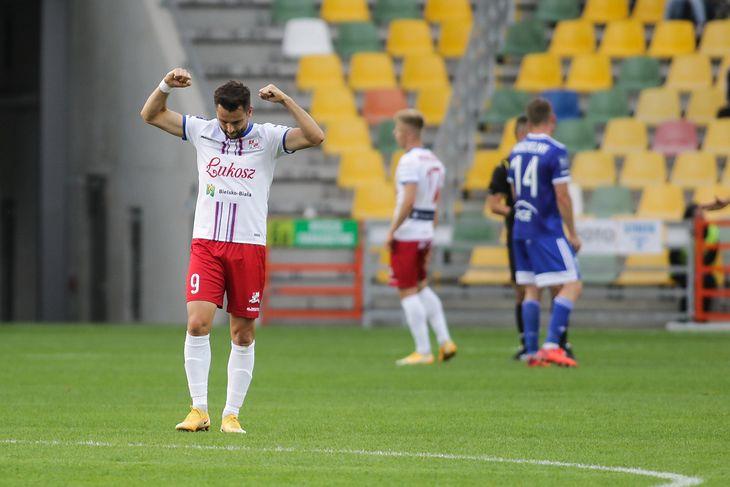 Kamil Biliński podczas meczu Ekstraklasy TS Podbeskidzie Bielsko Biala - FKS PGE Stal Mielec.