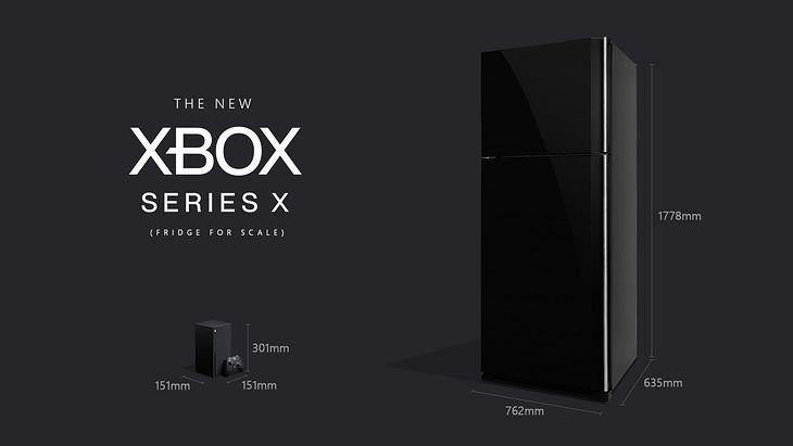 Porównanie wymiarów: Xbox Series X i lodówka