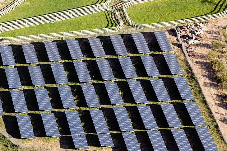 Farma słoneczna w USA w Kalifornii. Zdjęcie ilustracyjne