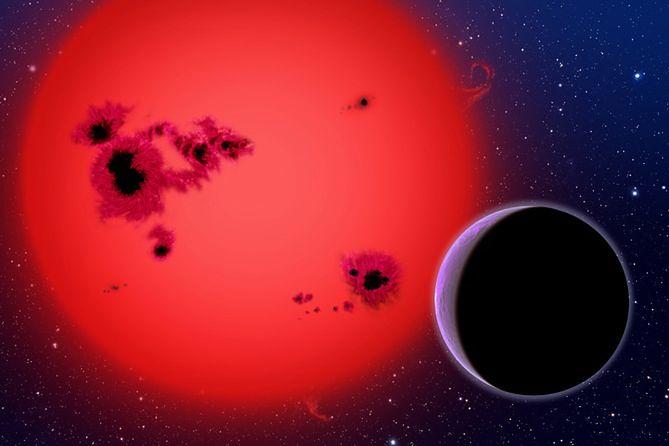 GJ 1214b i jej gwiazda - wizja artystyczna