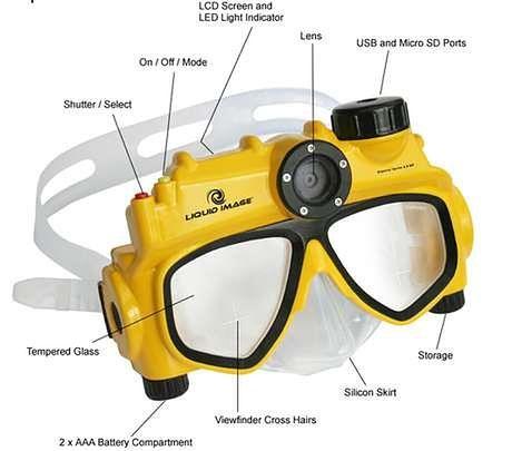 Maska do nurkowania z aparatem fotograficznym