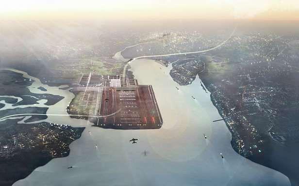 Thames Hub. Jak widać, Isle of Grain przestała istnieć przykryta płytą lotniska (Fot. Dvice.com)