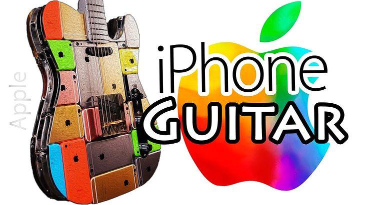 Bardzo oryginalna gitara zrobiona ze sklejonych iPhonów.