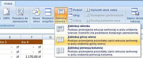 Excel 2007 Zamrażamy Kolumny I Rzędy Gadżetomaniapl