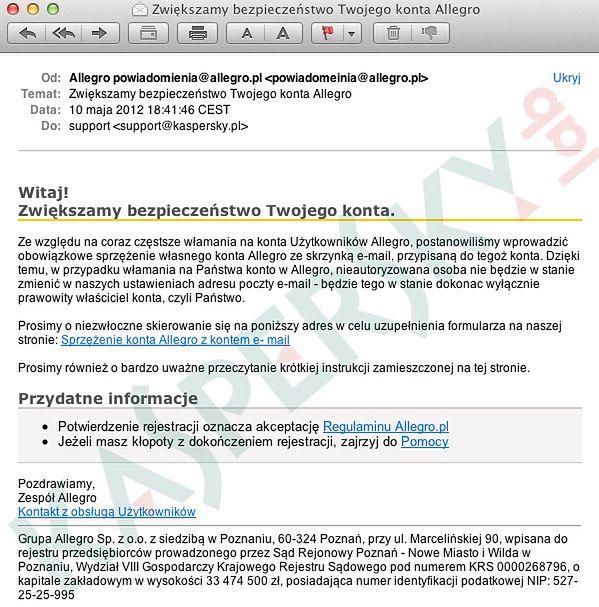 Nowy Atak Phishingowy Na Uzytkownikow Allegro Uwaga Na Falszywe E Maile Gadzetomania Pl
