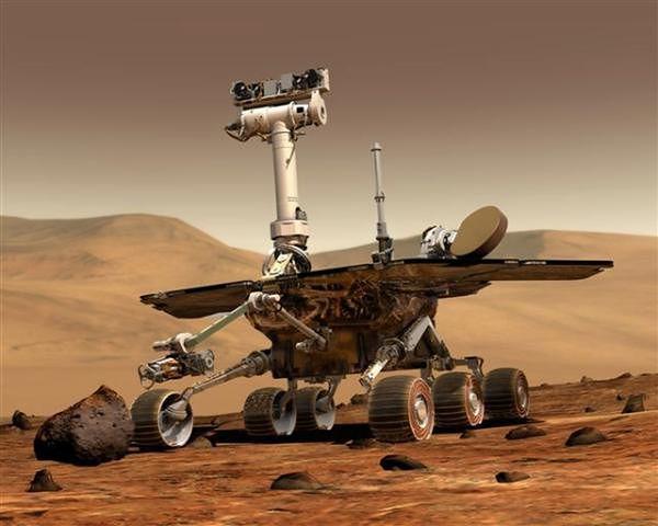 Artystyczna wizja łazika marsjańskiego w ramach misji Mars Exploration Rover