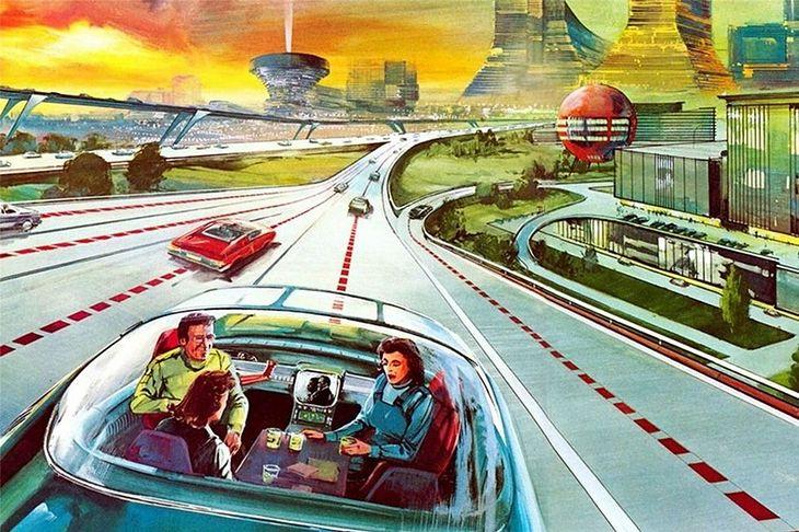 Retrofuturystyczna wizja samochodu bez kierowcy