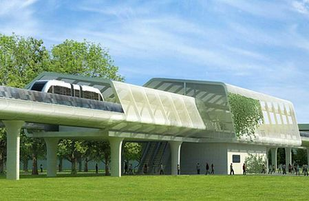 solarny pociąg na stacji
