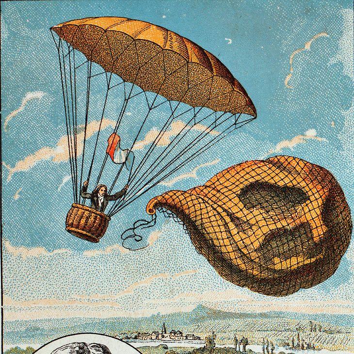 XIX-wieczna ilustracja pierwszego skoku ze spadochronem