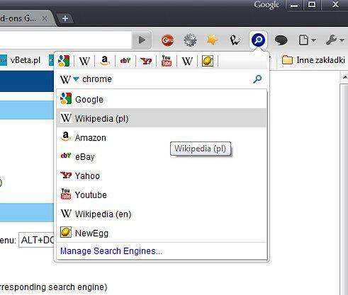 Universal Search - interfejs