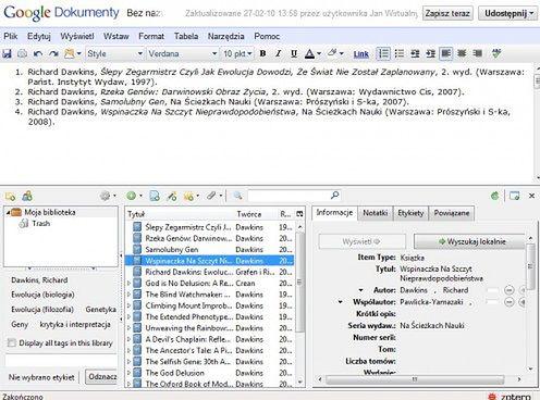 Wstawianie danych z Zotero do Dokumentów Google