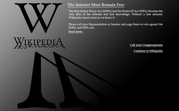 Tak wyglądała 18 stycznia anglojęzyczna Wikipedia