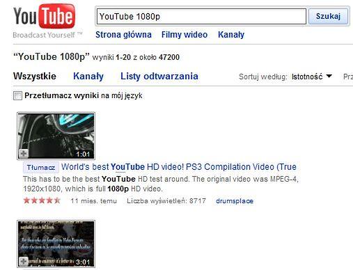You Tube w 1080p