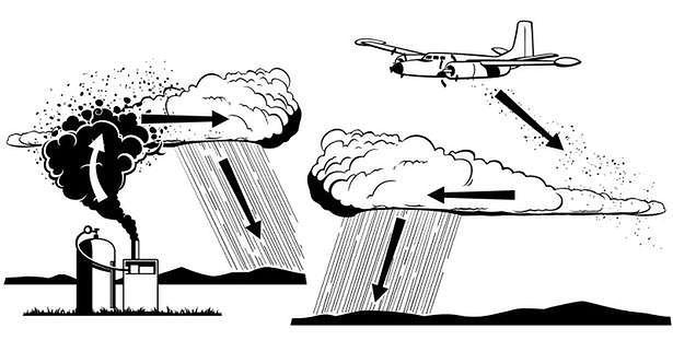 Zasiewanie chmur może być wykonywane również z ziemi