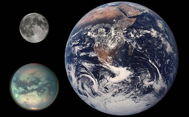 Ziemia, Księżyc i Tytan (Fot. Wikimedia Commons)