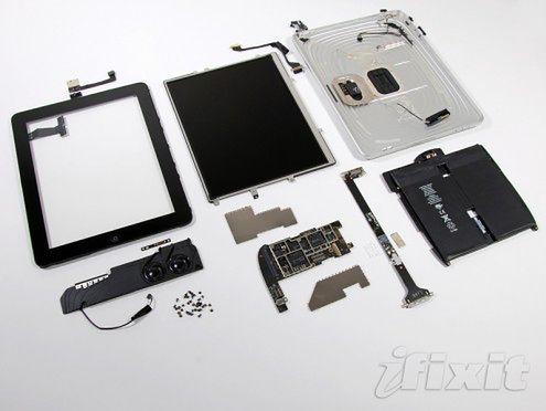 Rozłożyli iPada na części - podwójna bateria, 512MB RAMu w A4