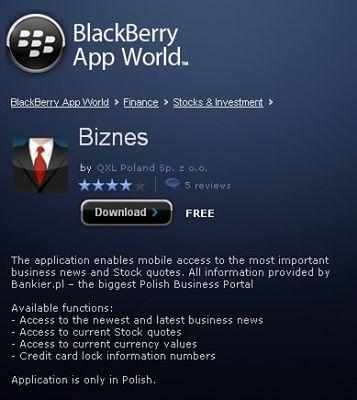 Nowe Darmowe Aplikacje W Blackberry App World Allegro Onet Pl I Biznes Komorkomania Pl