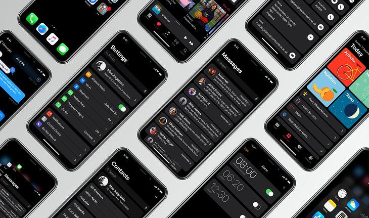 Wizualizacja ciemnego interfejsu systemu iOS