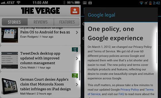pasek przewijania - iOS vs Android | fot. theverge.com