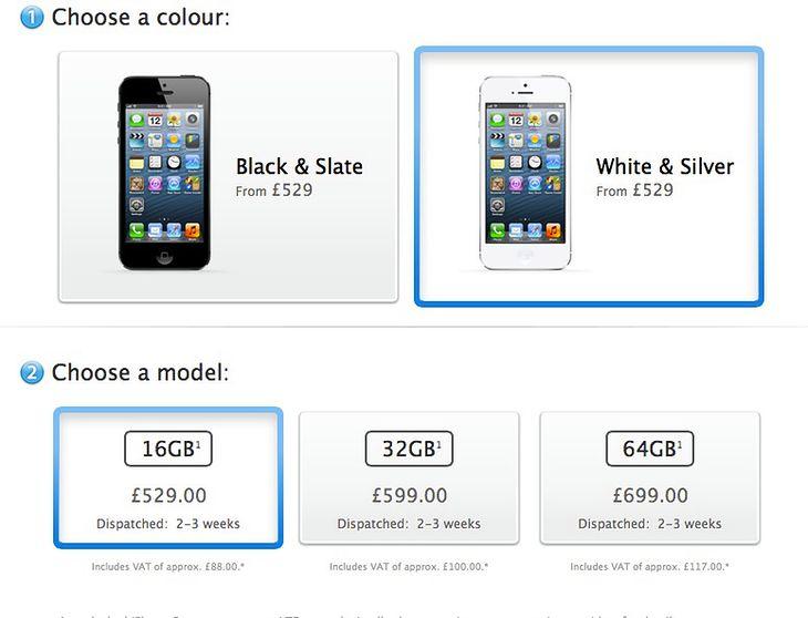 iPhone 5 czas oczekiwania w przedsprzedaży - 2-3 tyg. , fot. Apple
