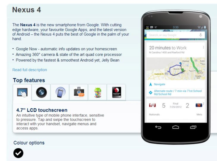 Nexus 4 | fot. Carphone Werehouse